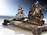 Detail images: Großes, imposantes Schreibzeug in Silber, Onyx und geschliffenem Kristall