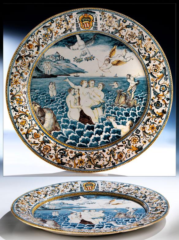 Großer Majolika-Platte aus der Werkstatt von Carlantonio Grue