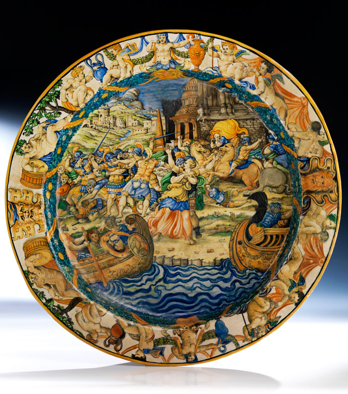 Große Majolika-Istoriato-Platteaus der Werkstatt der Fontana