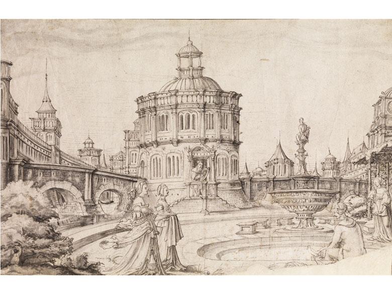 Hans Vredemann de Vries, 1527 Leeuwarden – 1604 Antwerpen, zug./Werkstatt