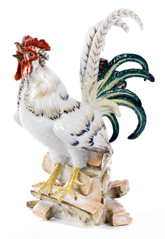 Meissener Porzellanfigur eines krähenden Hahns