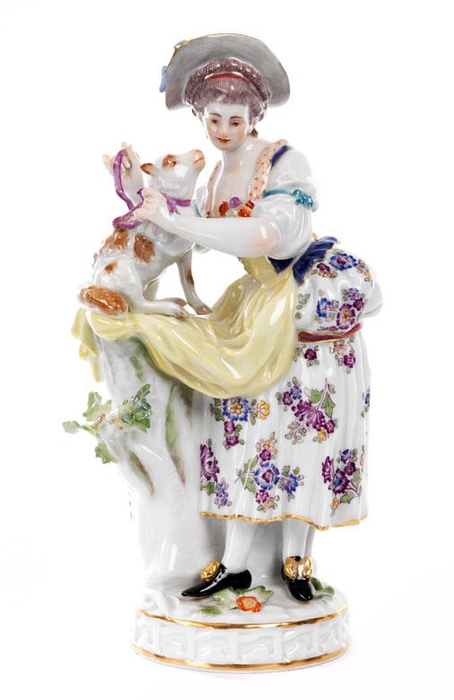 Meissener Porzellanfigur eines jungen Mädchens