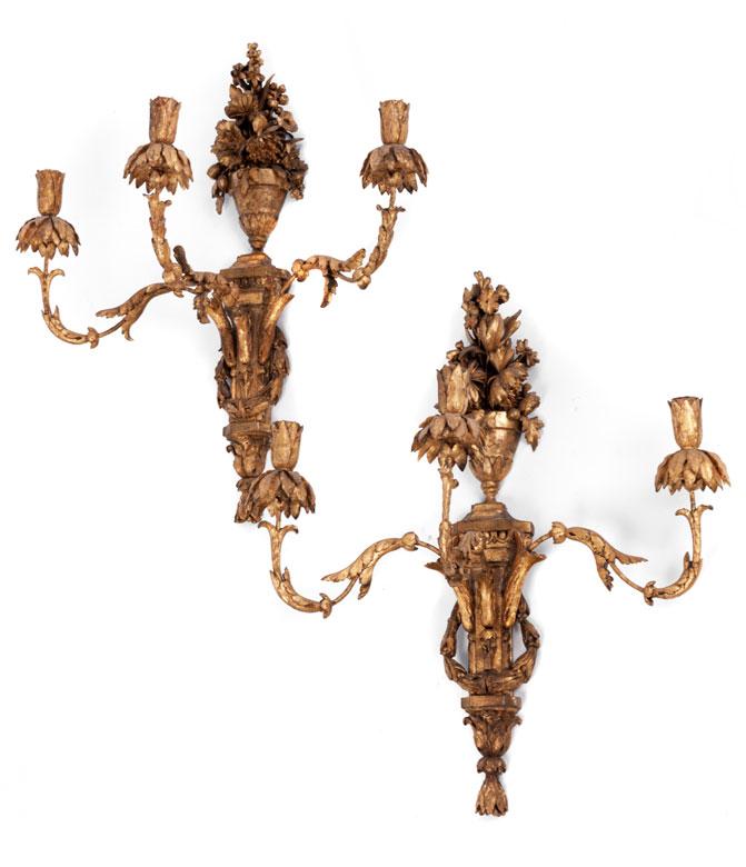 Paar Louis XVI-Wandleuchter