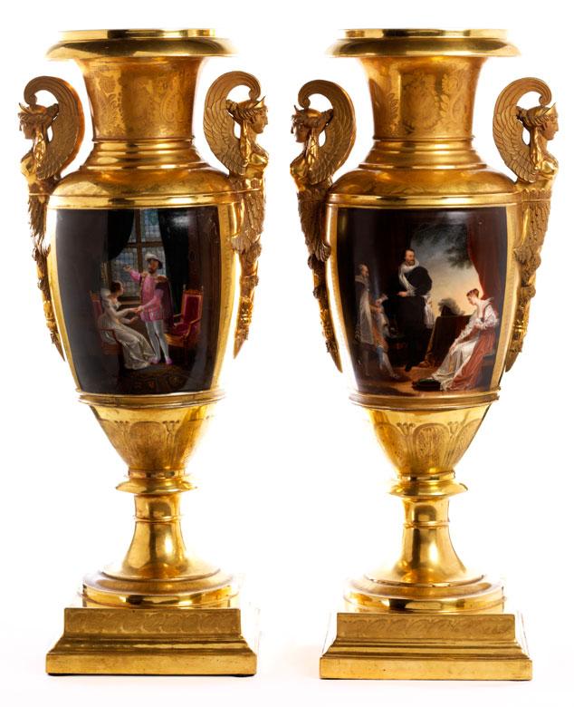Paar imposante, französische Empire-Ziervasen mit Bildthemenbezug zu François Premier (François dem Ersten) von Frankreich