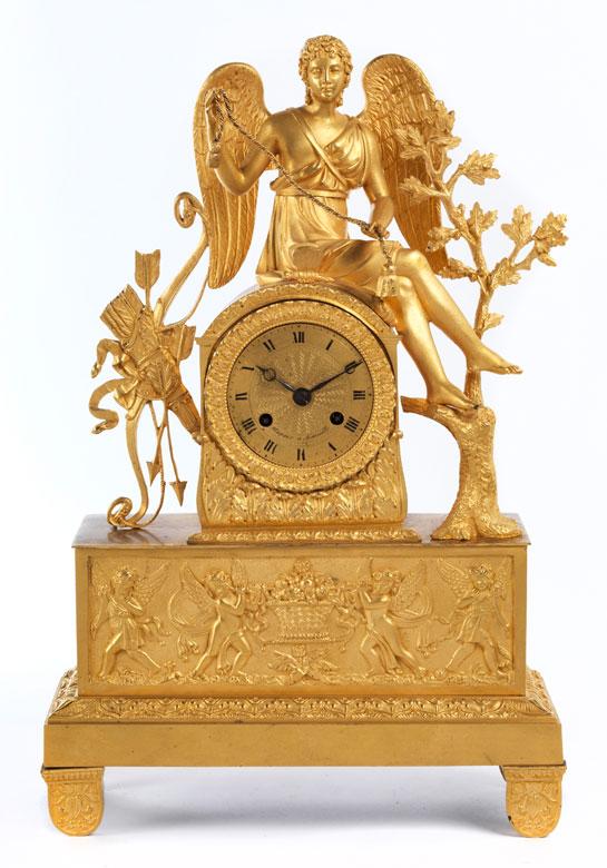 Kaminuhr in feuervergoldeter Bronze
