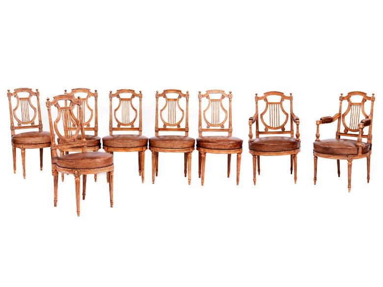 Seltener Satz von acht Louis XVI-Sitzmöbeln