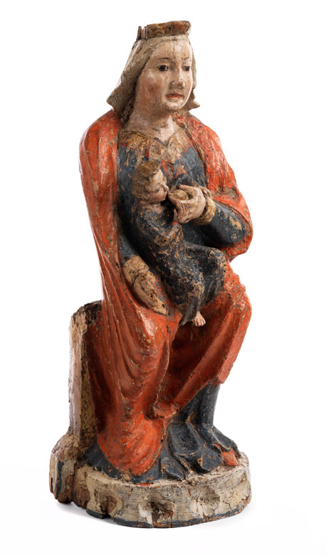 Gotische Schnitzfigur einer Madonna mit Kind