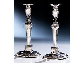 Paar silberne Tischkerzenleuchter