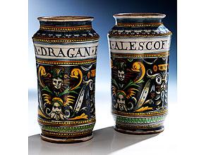 Paar Majolika-Albarelli