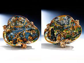 Paar große, seltene Majolika-Schalen, wohl aus der Werkstatt der Patanazzi