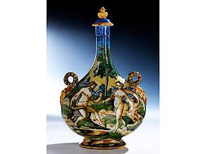 Majolika-Pilgerflasche mit Istoriato-Malerei