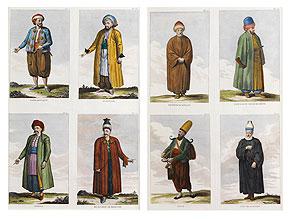 † Paar verglaste und gerahmte Stichdarstellungen von je einem Blatt mit vier orientalischen Kostümbildern