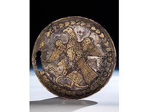 Sassanidische Silberplatte mit vergoldeter Tierdarstellung