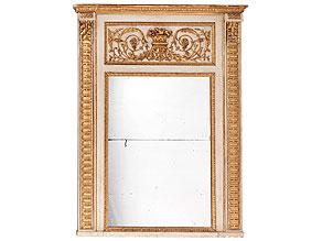 Spiegel-Trumeau mit Wandvertäfelung