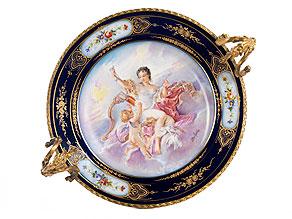 Sèvres-Porzellanbildplatte in vergoldeter Bronzemontierung
