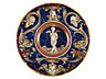 Detailabbildung: Majolika-Tondino wohl aus der Werkstatt des Maestro Giorgio Andreoli oder Maestro D , Domenico di Tommaso