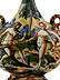 Detail images: Majolika-Pilgerflasche mit Istoriato-Malerei