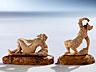 Detail images:  Zwei kleine Elfenbein-Schnitzfiguren