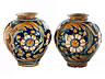Detail images: Paar große Majolika-Vasen