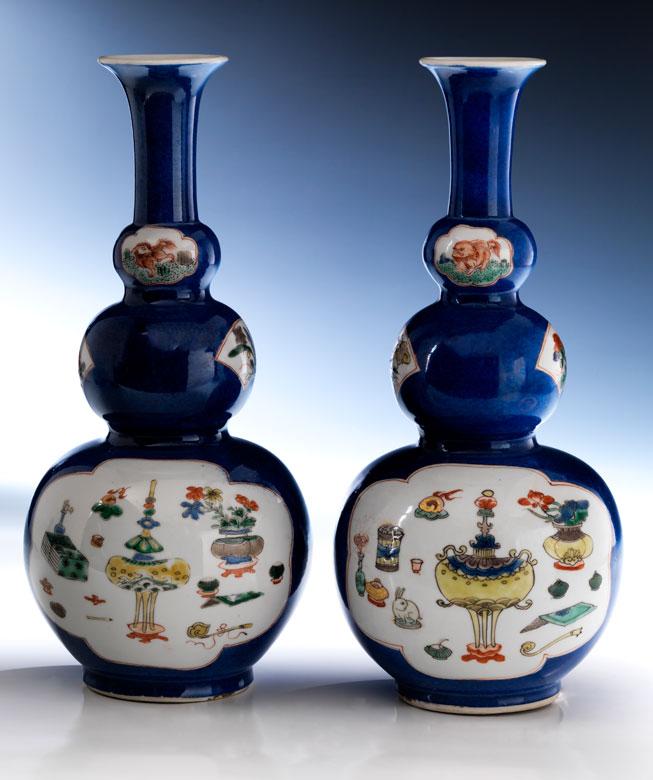 Paar Flaschenkürbis-Vasen