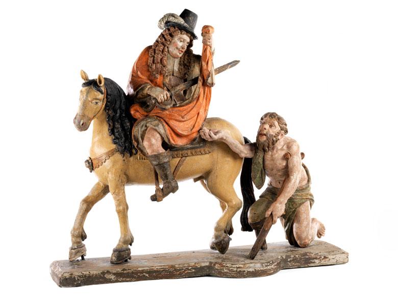 Bedeutende, museale Schnitzfigurengruppe des Heiligen Martin
