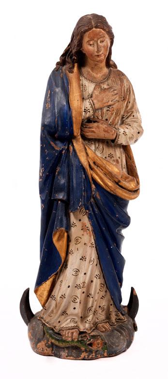 Gefasste Terrakottafigur einer Maria Immaculata