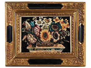 Scagliola-Bildplatte mit Blumenstilleben