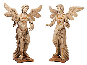 Paar geschnitzte und steingrau gefasste Engelsfiguren