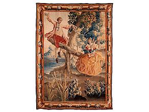 Bedeutender, äußerst dekorativer Aubusson aus dem Atelier von Pierre Dumonteil, 1732 - 1787, mit Rokoko-Darstellung eines Paares auf einer Schaukel im Park