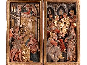 Zwei Altarflügel eines Marienaltars mit Hochreliefdarstellungen