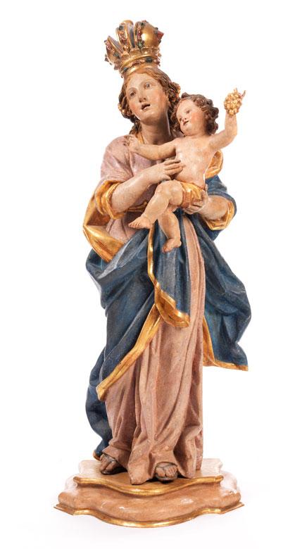 Schnitzfigur einer Maria mit dem Kind