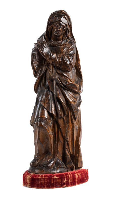 Schnitzfigur einer trauernden Madonna