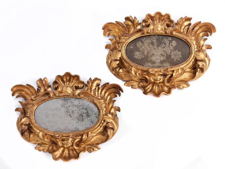 Paar kleine Rokoko-Spiegel