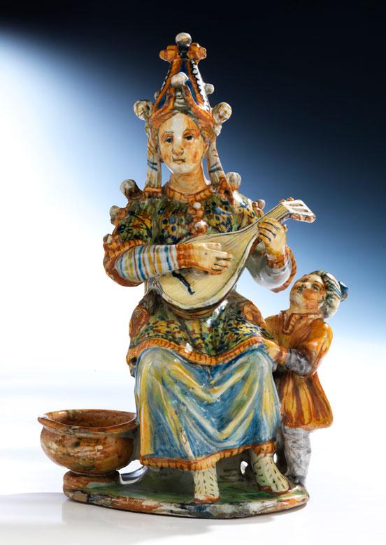 Majolika-Figur eines Musikanten aus der Werkstatt des Orazio Fontana