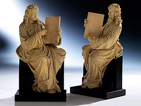 Paar Elfenbein-Schnitzfiguren zweier Evangelisten