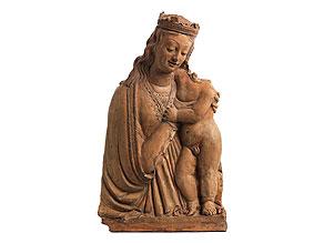 Terrakotta-Figur der Maria mit dem Kind im Hochrelief