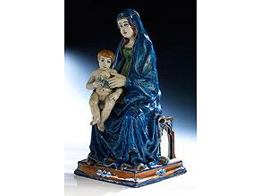 Seltene Majolika-Gruppe Madonna mit Kind