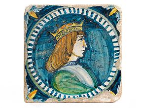 Majolika-Kachel mit Herrscherportrait