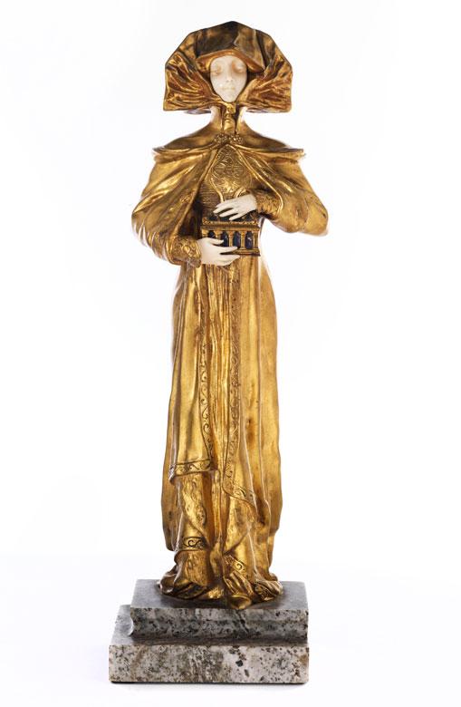 † Jugenstil-Mädchenfigur in Bronze und Elfenbein