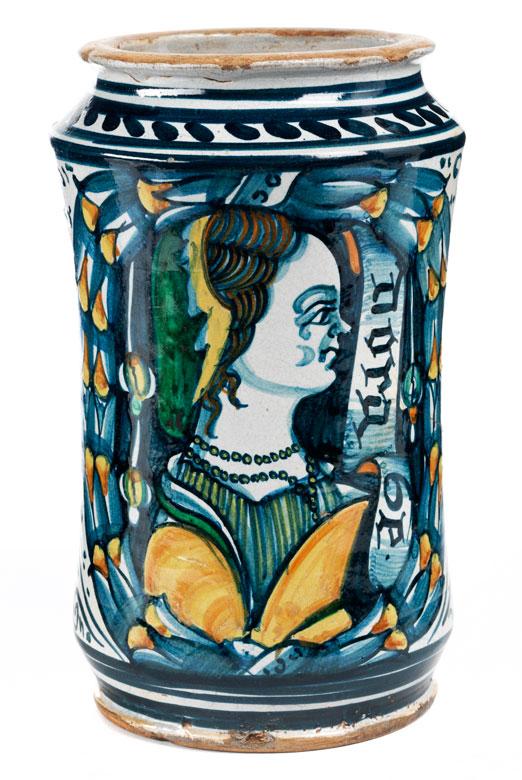 Majolika-Albarello mit Portrait