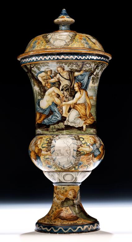 Große Majolika-Deckelvase, Francesco Antonio Saverio Grue, 1686 - 1746, zug.