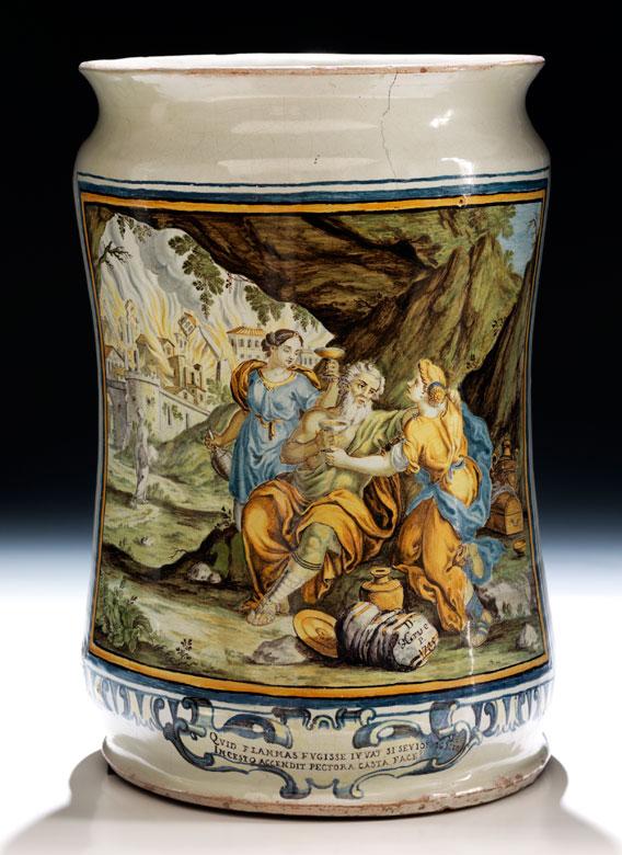Großer Majolika-Albarello von Francesco Antonio Saverio Grue, 1688 - 1746