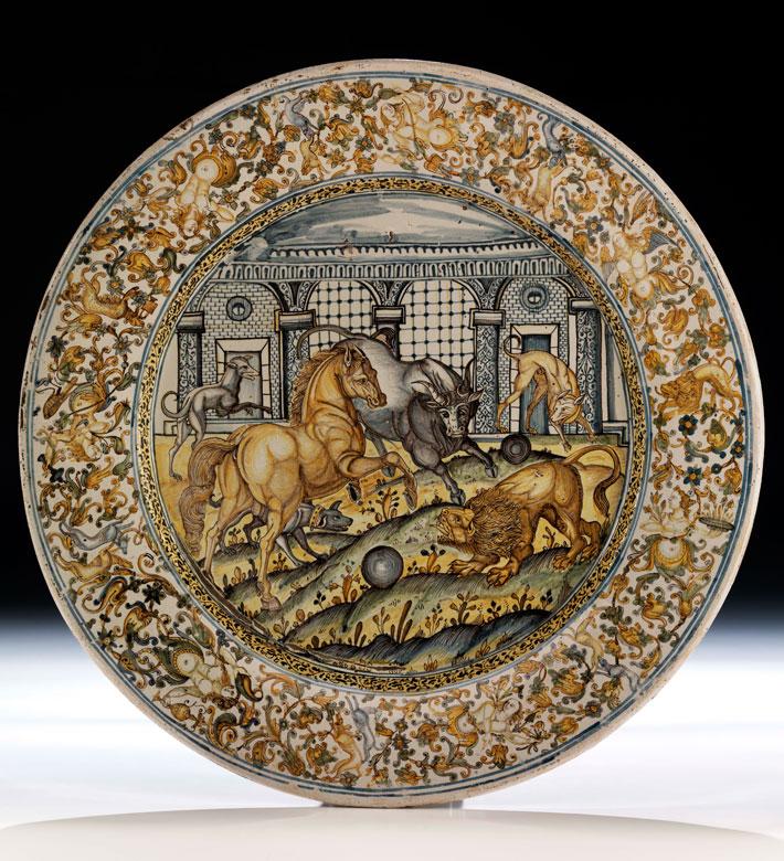 Große Majolika-Platte von Francesco Grue, 1618 - 1673 und Werkstatt