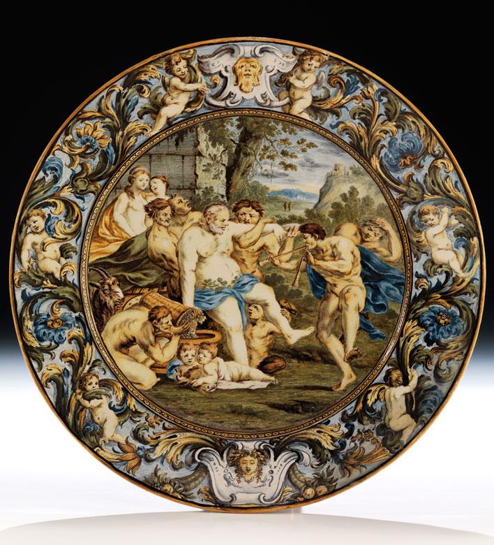 Bedeutende Majolika-Platte von Carlo Antonio Grue, 1655 - 1723