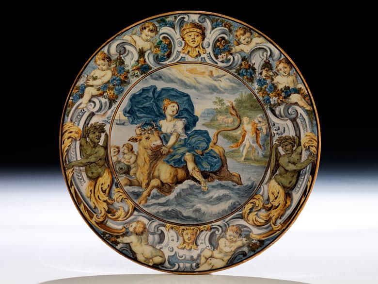 Großer Majolika-Teller von Carlo Antonio Grue, 1655 - 1723