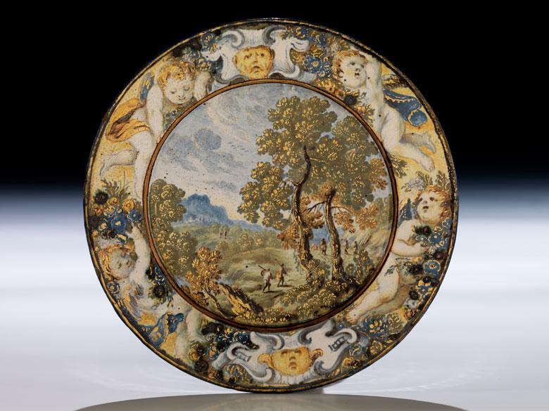 Majolika-Teller von Carlo Antonio Grue, 1655 - 1723