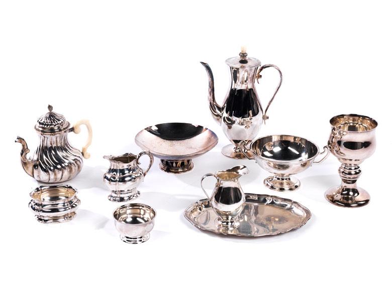 Konvolut von zehn Silberobjekten
