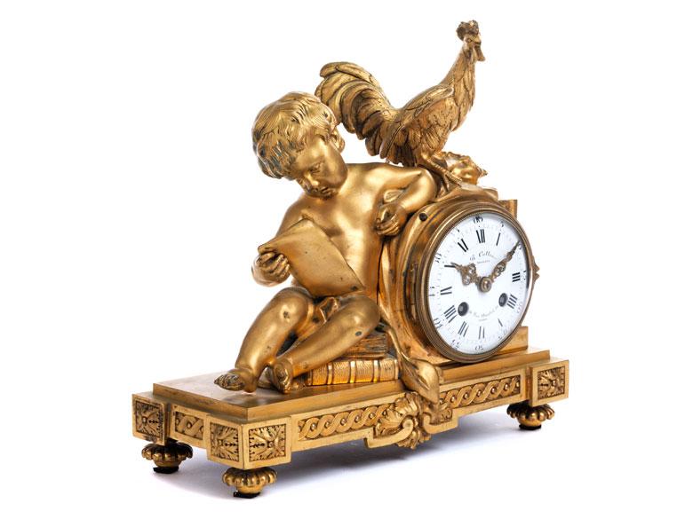 Kaminuhr in Bronze und Vergoldung im Louis XVI-Stil