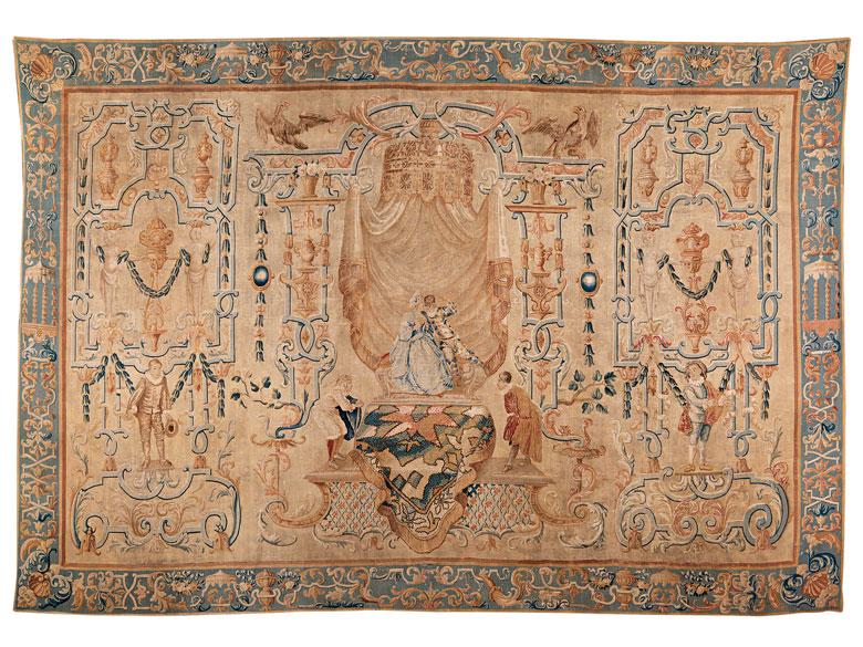 Bedeutender und äußerst seltener Wandteppich mit Grotesken-Dekoration und Figuren der Commedia dell'´Arte, Jean Peux, zug.