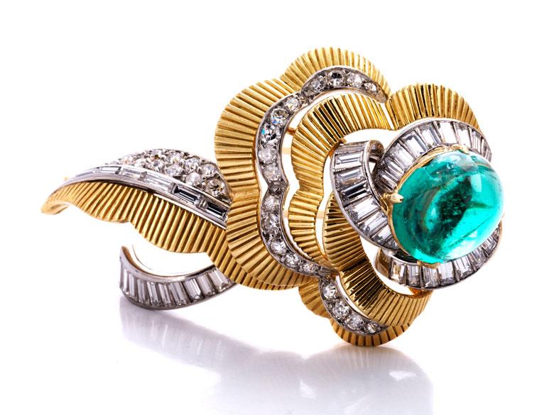 Smaragd-Diamantbrosche von Mauboussin
